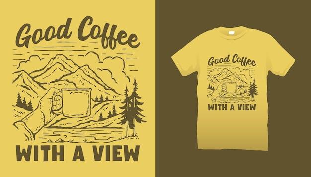 Bon café avec vue sur la montagne illustration