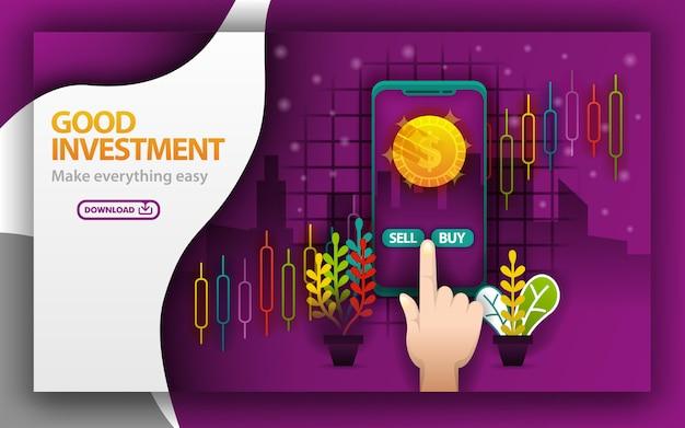 Bon concept d'investissement dans les pages web violettes