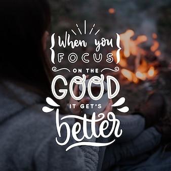 Bon devient meilleur lettrage positif