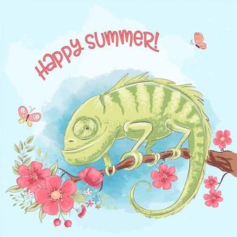 Bon été. caméléon mignon sur une branche et des fleurs. style de bande dessinée. vecteur