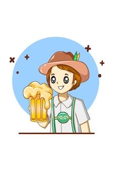 Un bon garçon célébrant l'oktoberfest avec une illustration de dessin animé de bière