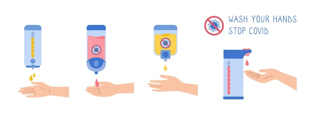 Bon lavage des mains désinfectant mur entretien préventif bactéries dessin animé ensemble lavage des mains désinfection hygiène sanitaire infographie collection de gel antiseptique soins de santé
