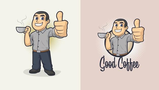 Bon logo de dessin animé de café