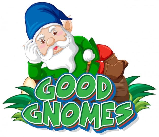 Bon logo de gnomes sur fond blanc