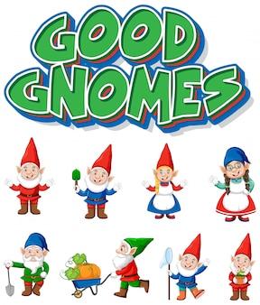 Bon logo de gnomes avec de nombreux gnomes mignons sur fond blanc