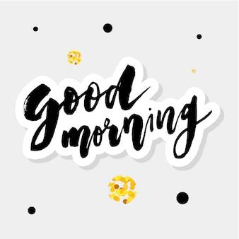 Bon matin, lettrage, calligraphie, vecteur, texte, typographie, phrase, or