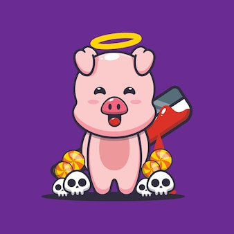 Bon ou mauvais cochon tenant une machette sanglante illustration de dessin animé mignon halloween