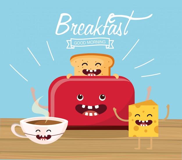 Bon pain en tranches avec une tasse de cacao et du fromage