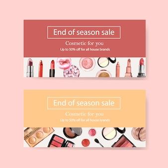 Bon pour produits cosmétiques avec pinceau, surligneur, rouge à lèvres
