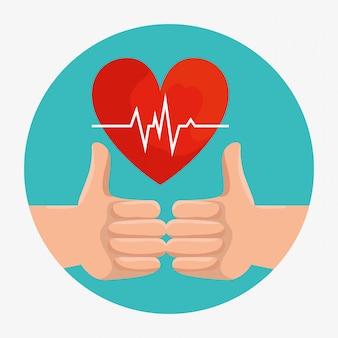 Bon signe mains avec battement de coeur de bien-être