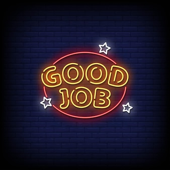 Bon travail neon signs style text vector