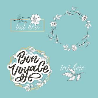 Bon voyage main lettrage calligraphie voyage