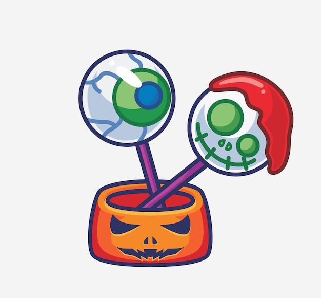 Bonbon effrayant mignon dessin animé isolé illustration d'halloween style plat adapté à l'autocollant