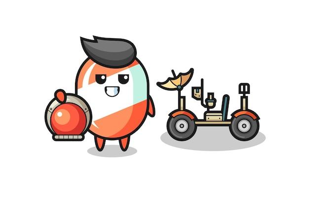 Le bonbon mignon comme astronaute avec un rover lunaire, design de style mignon pour t-shirt, autocollant, élément de logo