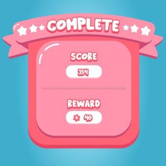 Bonbon rose conception d'interface d'application de jeu mobile complet vecteur premium de dessin animé doux