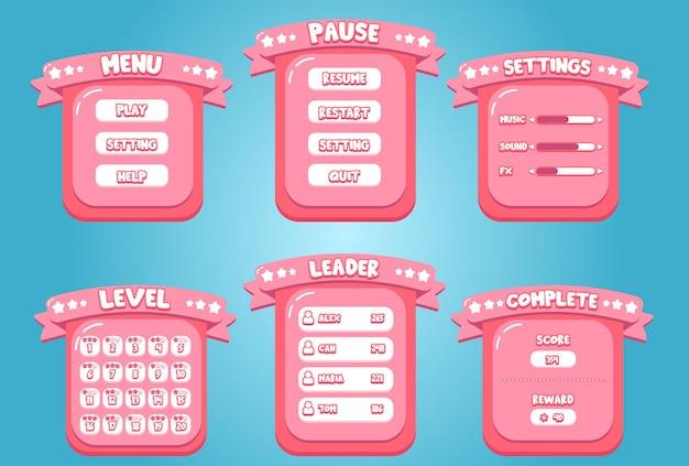 Bonbon rose niveau leader pause complète jeu mobile application interface conception doux dessin animé prime vecteur