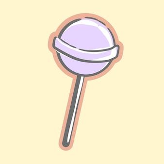 Bonbon sucette violet sucré mignon pour les illustrations vectorielles de dessin animé de dessert