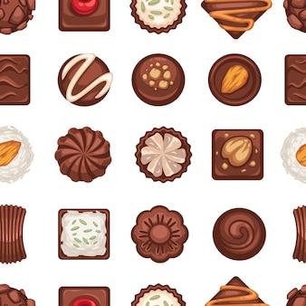 Bonbons au chocolat avec biscuits, noix et cerise douce. confiseries et desserts en boutique ou magasin, restaurant ou boulangerie avec carte. modèle sans couture, arrière-plan ou impression, vecteur dans un style plat