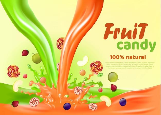 Bonbons aux fruits 100 pour cent de la page de destination naturelle.