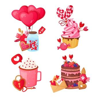 Bonbons et cadeaux en forme de coeur isolés sur blanc