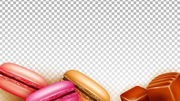 Bonbons caramel toffee et macarons vecteur de nourriture. bonbons et biscuits au four dessert sucré, gastronomie délicieuse confection. modèle de recette culinaire nutrition illustration 3d réaliste