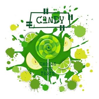 Bonbons citron vert et pomme lolly dessert icône coloré choisissez votre café au goût affiche