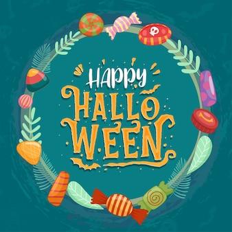 Bonbons colorés d'halloween pour les enfants. bonbons décorés d'éléments d'halloween