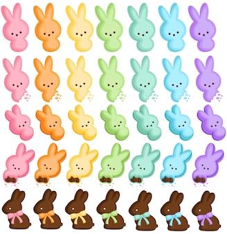 Bonbons colorés de lapin de pâques