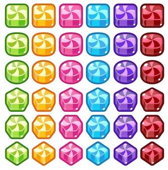 Bonbons colorés match trois