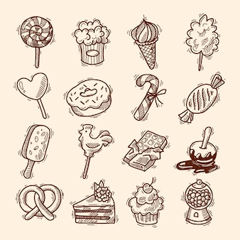 Bonbons croquis icon set