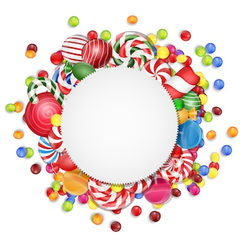 Bonbons fond avec des bonbons cadre