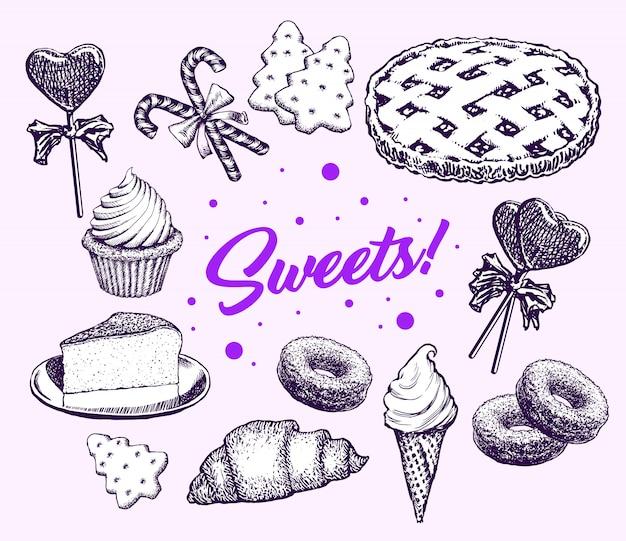 Bonbons gâteaux collection éléments dessinés à la main rétro