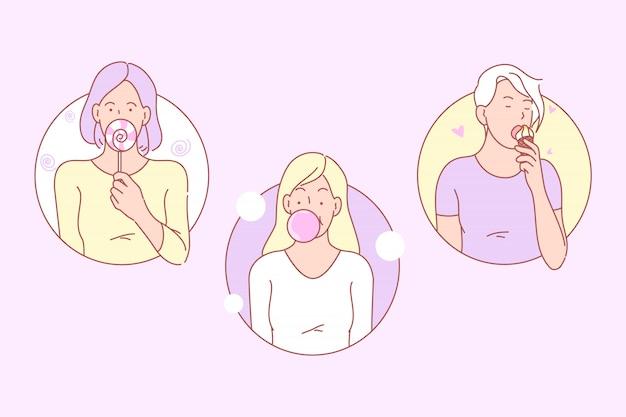Bonbons, junk food set illustration
