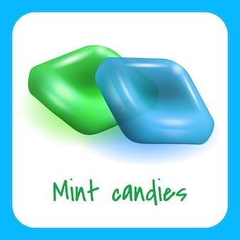 Bonbons à la menthe verte et bleue sur blanc