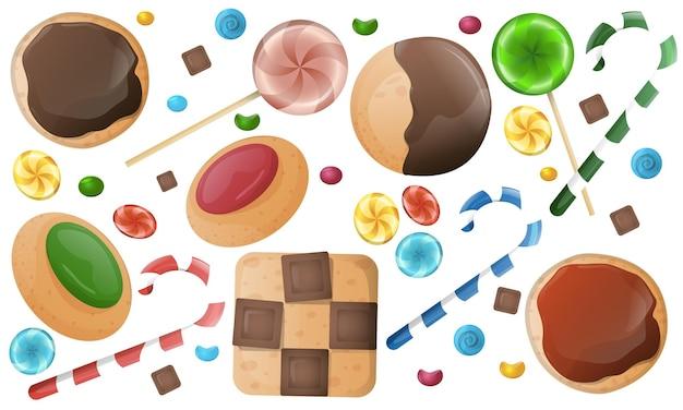 Bonbons de noël, bonbons, ensemble de biscuits