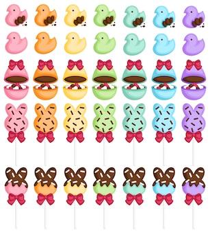 Bonbons de pâques colorés