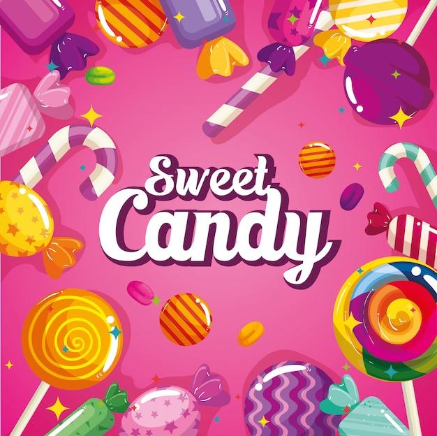 Bonbons sucrés avec bannière de caramels