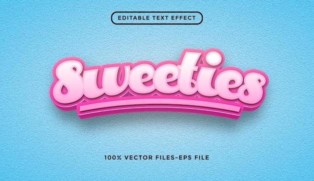 Bonbons vecteurs premium d'effet de texte modifiable
