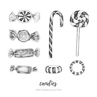 Bonbons vintage dessinés à la main.