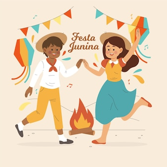 Bonheur et danse festa junina dessinés à la main