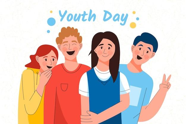 Bonheur dessiné à la main de l'événement de la journée de la jeunesse