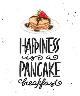 Le bonheur est un petit-déjeuner aux crêpes avec croquis