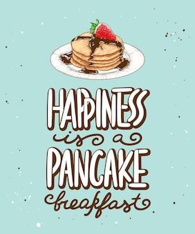 Le bonheur est un petit déjeuner avec des crêpes
