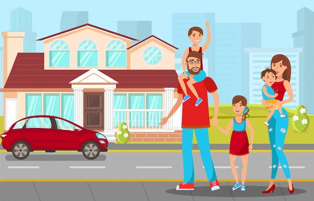 Bonheur familial, illustration vectorielle parenting