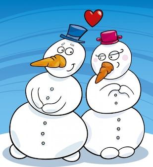 Bonhomme de neige amoureux