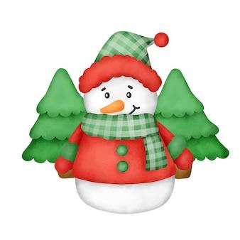Bonhomme de neige aquarelle dessiné à la main pour carte de voeux de noël.