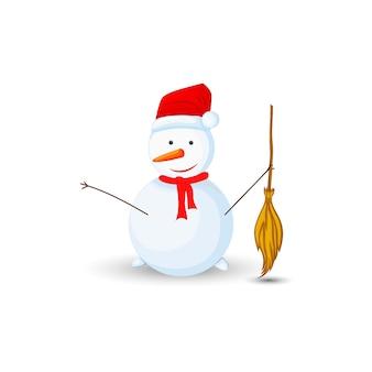 Bonhomme de neige avec balai en mains sur fond blanc.