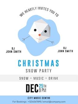 Bonhomme de neige bannière de fête flyer carte de visite premium