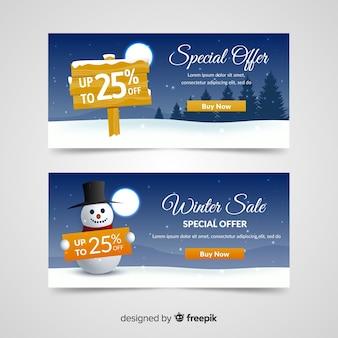 Bonhomme de neige bannière de vente d'hiver
