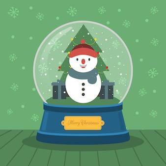 Bonhomme de neige boule de cristal de noël